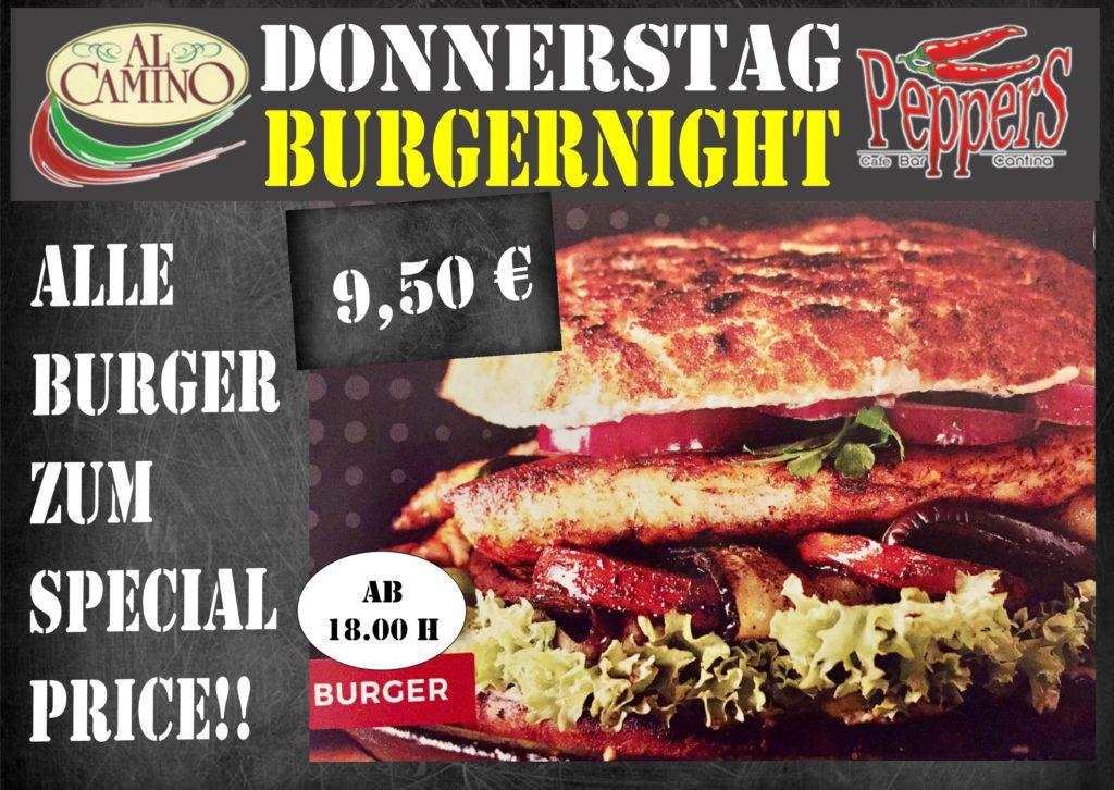 Donnerstag = BurgerNight!   Alle Burger für nur 9,50 € im Peppers Regensburg